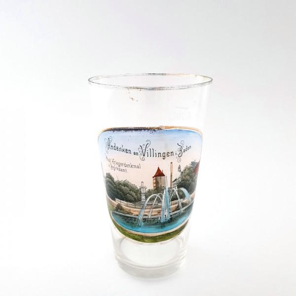 """Andenken-, Becherglas """"VILLINGEN in Baden"""", um 1900."""