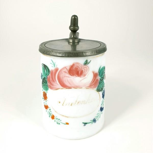 Biedermeier - Milchglaskrug ANDENKEN, um 1800.