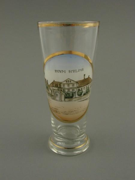 """Andenkenglas """"HOYM Schloss"""" in Sachsen-Anhalt, um 1900."""