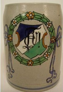 st155 / Studentika - Bierkrug mit Wappen und Zirkel