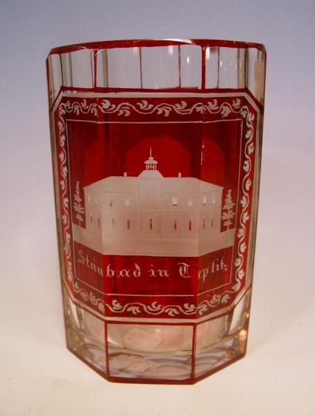 Becherglas mit Ansichten von TEPLITZ. Böhmen, um 1860.