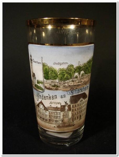 Andenken-, Becherglas von PFORZHEIM, um 1900.