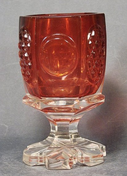 Biedermeier - Pokalglas mit Unterfang goldrubin. 1.H. 19.Jh.