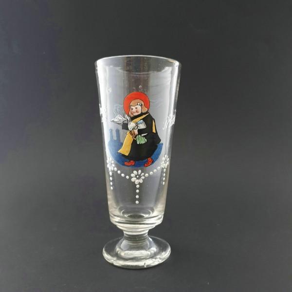 """Weissbierglas mit MÜNCHNER KINDL """"Gruss aus München"""", um 1920."""