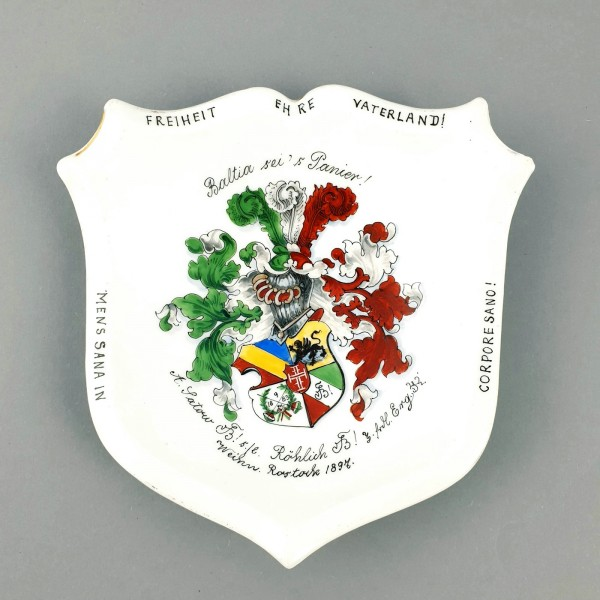 "Studentika - Porzellanteller KPM ""BALTIA ROSTOCK"", datiert 1897."