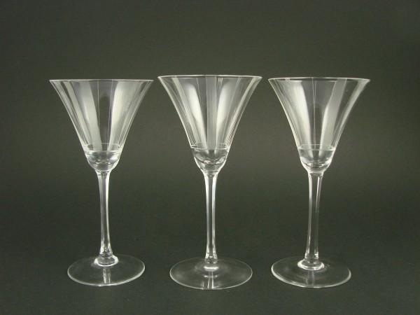 3 Weingläser SILBERSTREIF, von VLG Weißwasser. 1940er Jahre.