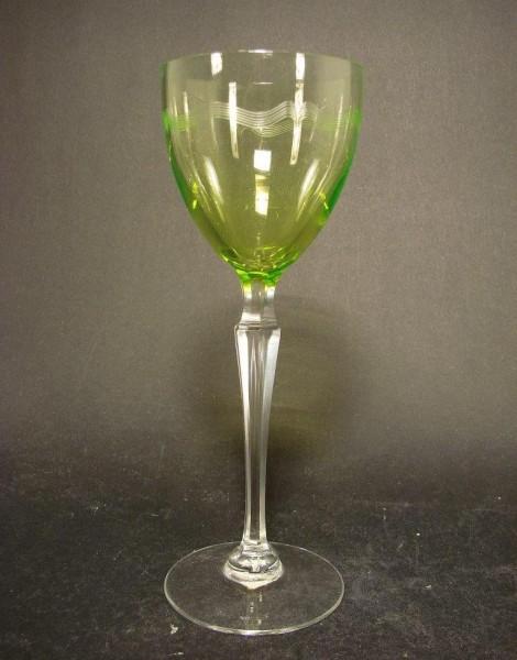 Jugendstil - Weinglas mit geätzter Uranglas-Kuppa, um 1910.