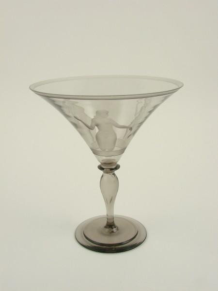 Art Deco - Kelchglas mit weiblichen Akt. Schweden, um 1930.