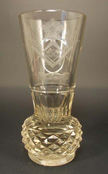 Freimaurer - Logenglas / Steindelfußkanone, datiert 1905