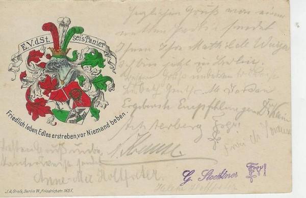 Studentika - Postkarte E.V.d.St., gegr. 25.11.1885, gelaufen
