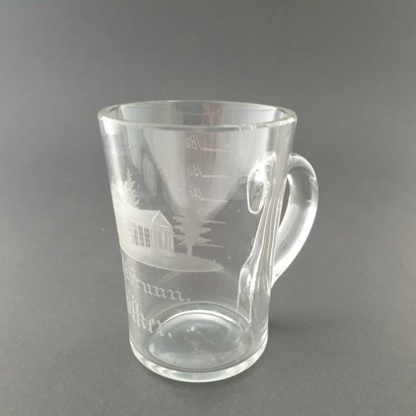 Andenken-, Bade-, Brunnenglas SALZBRUNN / Schlesien, 19.Jh.