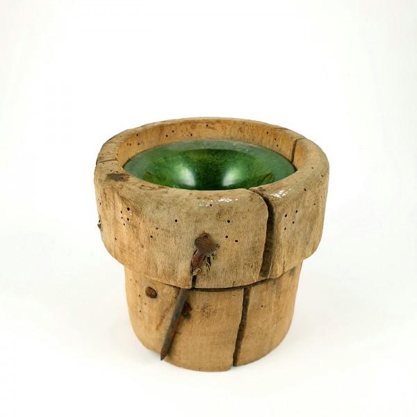 Glockenseilführung / Seilführung, Glas mit Holzummantelung, 19.Jh.