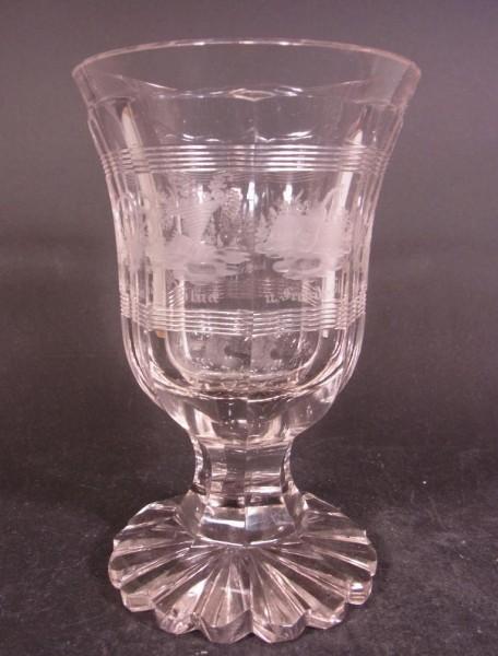Biedermeier - Pokalglas mit Allegorien. Böhmen, um 1850.