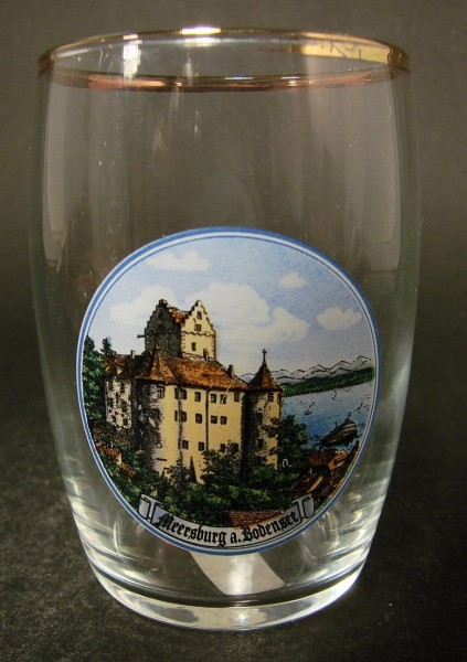 """Andenken-, Becherglas """"MEERSBURG a. Bodensee"""", um 1900."""