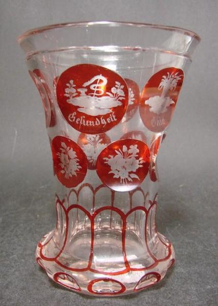 Biedermeier - Becherglas mit gravierten Allegorien. 19.Jh.