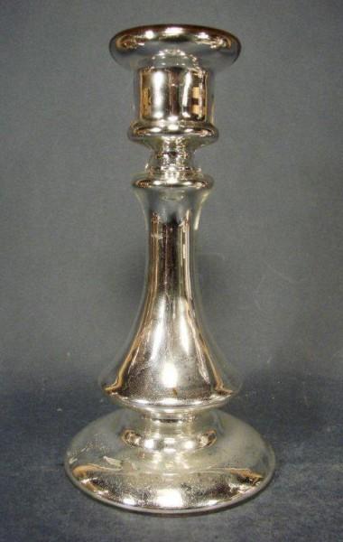 Bauernsilber / Silberglas Kerzenleuchter. Böhmen, 19.Jh.
