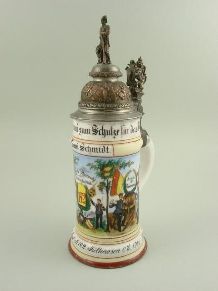 Militaria - Regimentskrug MÜLHAUSEN 1904-1906.