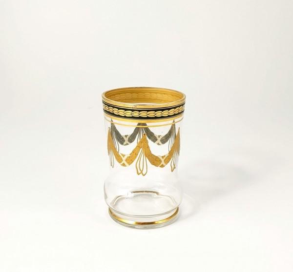 Becherglas mit Email-, und Relief-, Goldbemalung, 19.Jh.