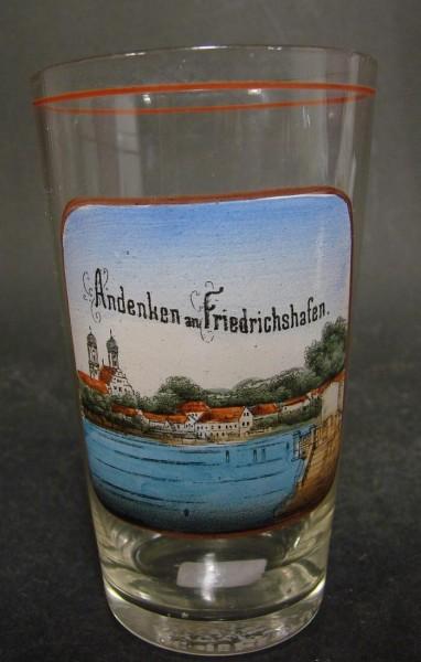 Asichten-, Becherglas ANDENKEN AN FRIEDRICHSHAFEN, ca. 1910.