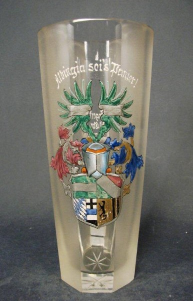 Studentika - Bierglas / Becherglas ALBINGIA DRESDEN AACHEN mit Widmung, 1935