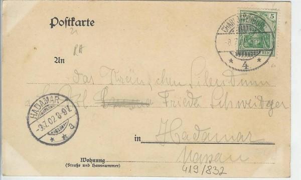 Studentika - Postkarte Akademischer Verein HÜTTE BERLIN, gelaufen 1902