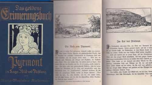 """PYRMONT """"Das goldene Erinnerungsbuch in Sage, Bild und Dichtung"""", um 1900."""