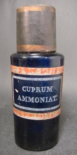 Apothekenflasche CUPRUM AMMONIAT:. Frankreich, 19.Jh.