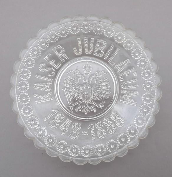 """Glasteller """"Kaiserjubiläum 1848-1888"""" mit Reichsadler, Pressglas."""