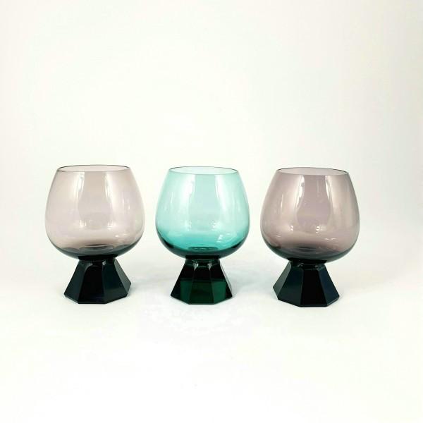 3 Cognacgläser. Fa.Friedrich, 1960er Jahre.