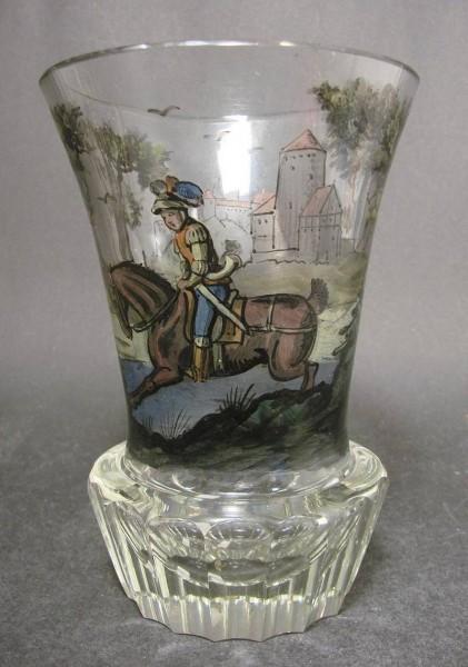 Jagd-, Becherglas mit Schwarzlotbemalung. Steinschönau, um 1920.