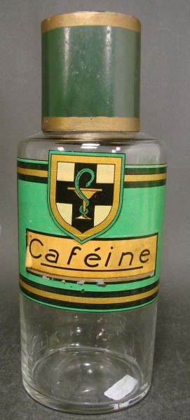 Apothekenflasche mit späterem Etikett Caféine. Frankreich, 19.Jh.