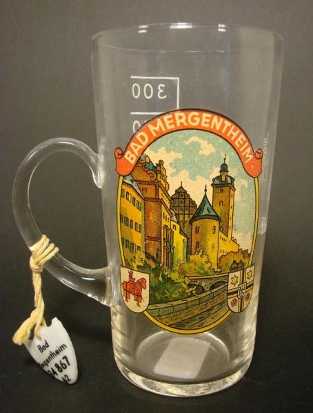 Brunnenglas BAD MERGENTHEIM, 1950er Jahre.