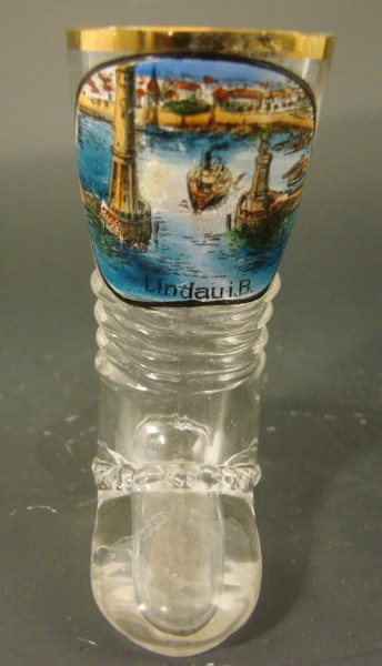 Kleines Stiefelglas mit Ansicht von LINDAU i. Bodensee.