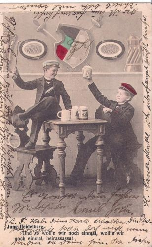 stu6170 / Studentika - Postkarte HEIDELBERG mit Zirkel, gelaufen 1903