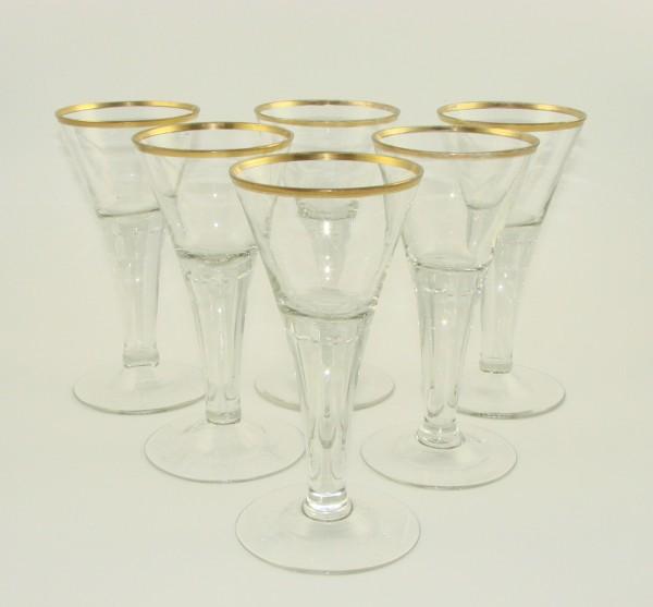6 Wein-, Pokalgläser. Wohl Josephinenhütte.