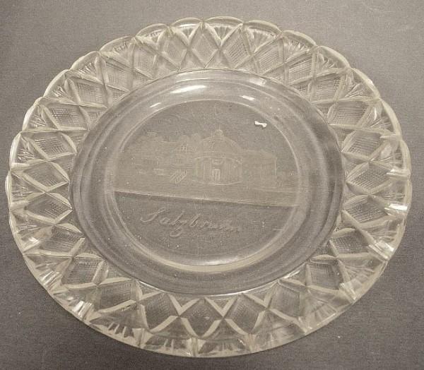 Ansichten-, Glasteller SALZBRUNN, ca. 1860.