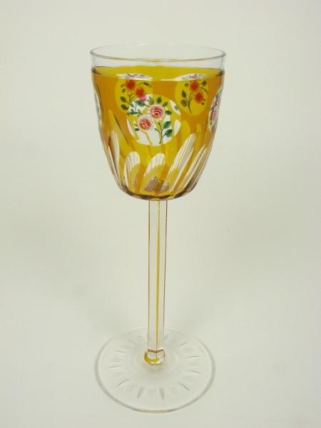 Jugendstil - Weinglas mit Rosenzweig von Meyr's Neffe, um 1910.