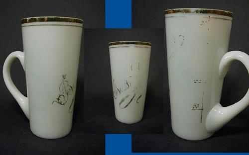 b6163 / Brunnen-, Badebecher BAD ........ aus Milchglas mit Trinkskala, um 1900