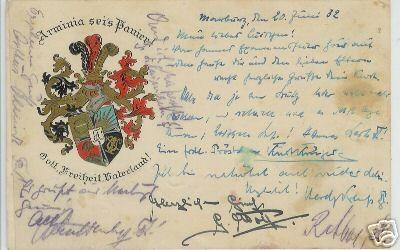 Studnetika - Wappen-Präge-Postkarte ARMINIA MARBURG, gelaufen 1932