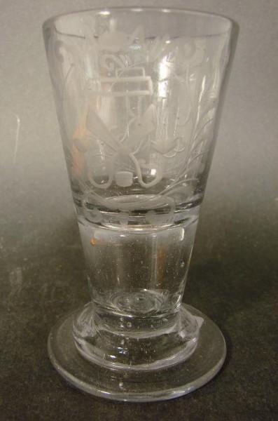 Barock - Schnapsglas eines Schneiders. Mitteldeutsch, 2. Hälfte 18.Jh.