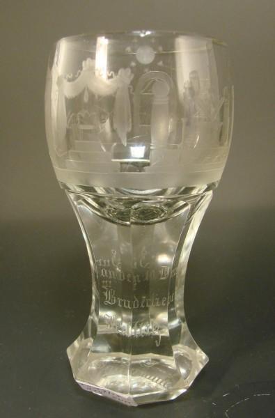 Freimaurer - Logenglas mit Widmung.