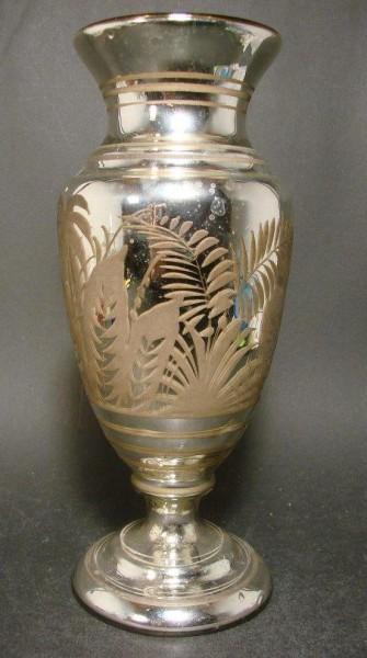 Große Bauernsilber / Silberglas Vase. Ende, 19.Jh.