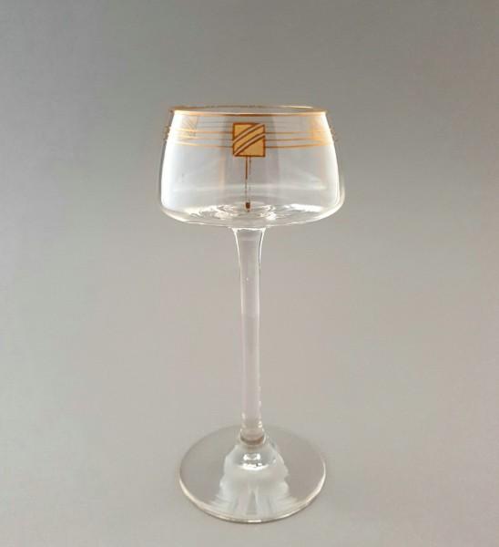 Jugendstil / Art Deco Weinglas mit feiner Goldbemalung, um 1920.