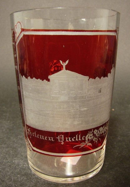 """Andenken-, Henkelbecherglas """"HELENENQUELLE"""" Gerolstein oder Bad Wildungen. 19.Jh."""