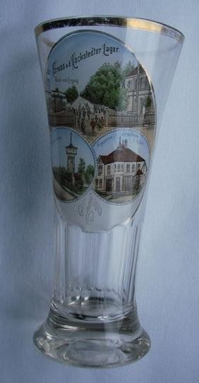 """Andenken-, Bierglas """"Gruss a.d. LOCKSTEDTER Lager"""", um 1900."""