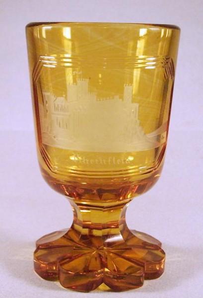 Ansichten-, Fussbecherglas RHEINSTEIN. Böhmen, um 1850.